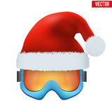Santa Claus hat on ski goggles Royalty Free Stock Image