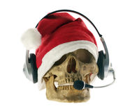 Santa Claus hat with skull. Royalty Free Stock Photography