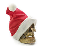 Santa Claus hat with skull. Stock Photography