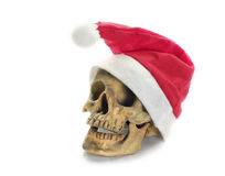 Santa Claus hat with skull. Royalty Free Stock Photo