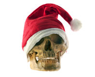 Santa Claus hat with skull. Stock Photo