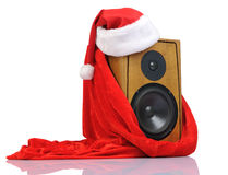 Santa Claus hat on the speaker in red bag Stock Photography