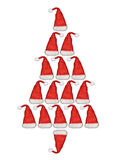Santa Claus hat, tree. Christmas tree with Santa Claus hat Royalty Free Stock Photography