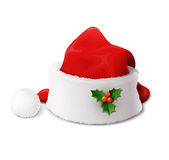 Santa Claus hat. Vector illustration  on white background EPS10. Transparent objects and opacity masks used for shadows and lights drawing Stock Photography