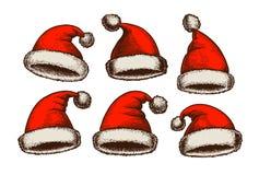 Santa Claus hat, vintage. Christmas sketch. Vector illustration vector illustration