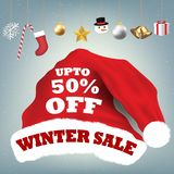 Santa claus hat with  winter  sale 50 percent Stock Photography