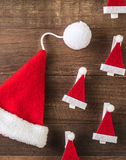 Santa Claus hat. On wooden background Royalty Free Stock Photo