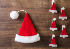 Santa Claus hat. On wooden background Stock Images