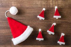 Santa Claus hat. On a wooden background Stock Images