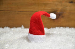 Santa Claus hat  wooden background Stock Photography