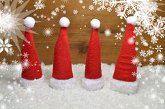 Santa Claus hat  wooden background Royalty Free Stock Images