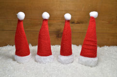 Santa Claus hat  wooden background Royalty Free Stock Photos