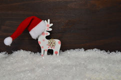 Santa Claus hat  wooden background Royalty Free Stock Image