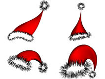 Santa claus hats. Santa claus christmas hat isolated on white Stock Image