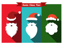 Santa claus hats and beards flat icons with long shadow. Royalty Free Stock Photo