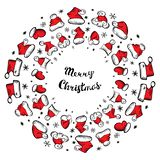 Santa Claus Hats Christmas Round Frame for Holiday Card. Or Border for Packaging, Wrapping Design. Hand Drawn New Year Xmas Vector Illustration with Funny vector illustration
