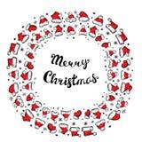 Santa Claus Hats Christmas Round Frame para o cartão do feriado ilustração stock