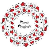 Santa Claus Hats Christmas Round Frame para o cartão do feriado ilustração do vetor