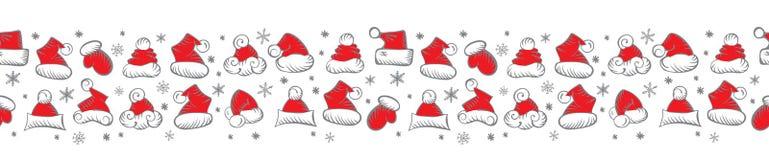 Santa Claus Hats Christmas Seamless Pattern för att förpacka för ferie royaltyfri illustrationer