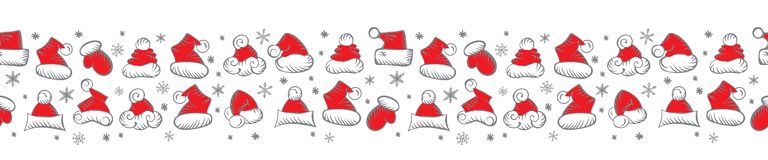 Santa Claus Hats Christmas Seamless Pattern for Holiday Packaging. Santa Claus Hats Christmas Long Seamless Pattern or Border for Holiday Packaging or Wrapping royalty free illustration