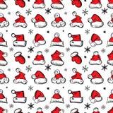 Santa Claus Hats Christmas Seamless Pattern para o empacotamento do feriado ilustração stock