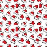 Santa Claus Hats Christmas Seamless Pattern para o empacotamento do feriado ilustração do vetor