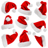 Santa Claus hats isolated on white Royalty Free Stock Images