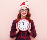 Santa Claus hatt med klockan Royaltyfri Bild