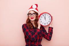 Santa Claus hatt med klockan Royaltyfria Foton