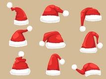 Santa Claus hattuppsättning Samling av hattar för jul och för nytt år Arkivbild
