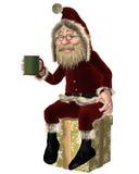 Santa Claus Having a Tea Break. Happy Santa Claus sitting on a christmas present tied with a shiny gold ribbon and having a tea or coffee break, 3d digitally Royalty Free Stock Photos