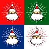 Santa Claus Head Cartoon Illustration avec des feux d'artifice dans quatre couleurs de fond illustration de vecteur