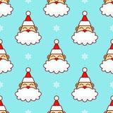 Santa Claus Head dans le modèle sans couture de neige illustration stock