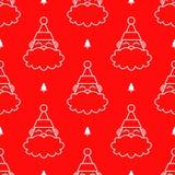 Santa Claus Head Red Seamless Pattern illustration stock