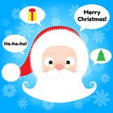 Santa Claus Head and Speech Bubbles Stock Image