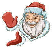 Santa Claus Head and two hands in red mittens Royalty Free Stock Images