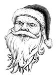 Santa Claus head. Vector hand drawn. illustration Stock Images