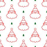 Santa Claus Head White Seamless Pattern illustration libre de droits