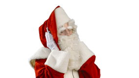 Santa Claus with Headphones - Listening to Music stock video footage