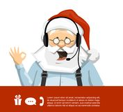 Santa Claus With Headset Vector Character vektor illustrationer