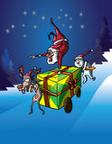Santa Claus headstand on gift delivery Royalty Free Stock Image