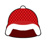 Santa Claus Helmet. Red Military hard hat with fur. Army Christm Royalty Free Stock Image