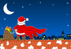 Santa claus hero at work on a roof Royalty Free Stock Photography