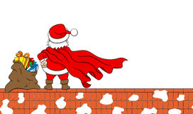 Santa claus hero at work on a roof Royalty Free Stock Images