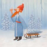 Santa Claus in het de winterbos stock afbeelding