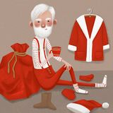 Santa Claus-het drinken cacao royalty-vrije stock foto