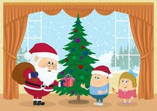 Santa Claus-het geven stelt voor Stock Foto's