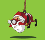 Santa Claus-het hangen op een kabel Royalty-vrije Stock Afbeeldingen