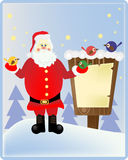 Santa Claus in het hout Stock Foto