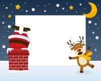 Santa Claus in het Schoorsteenkader stock illustratie